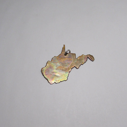 Handcrafted copper West Virginia charm.