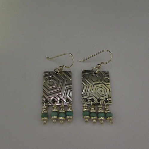 Handcrafted sterling silver earrings with opal beads.