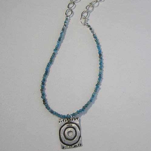 Handcrafted sterling silver necklace with apatite beads.