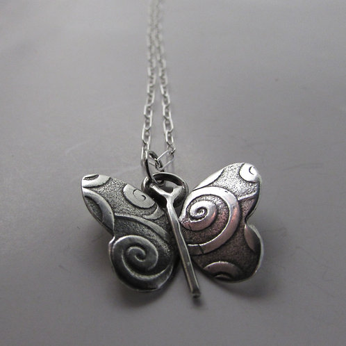 Hand made sterling silver butterfly necklace.