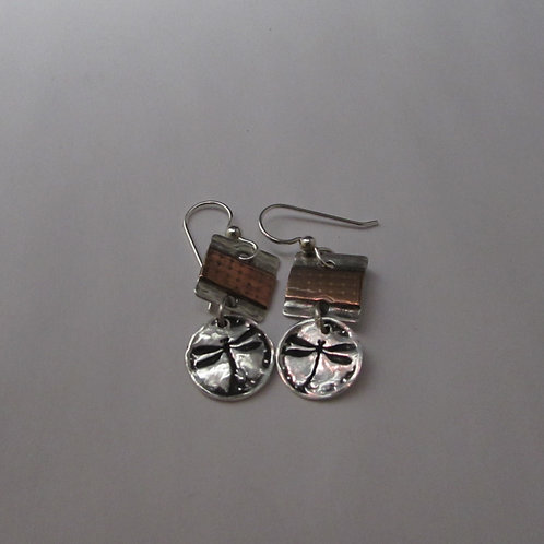 Handcrafted sterling silver and copper dragonfly earrings.