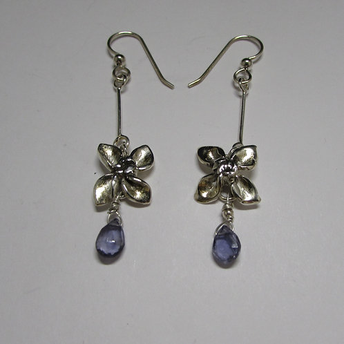 Handcrafted sterling silver iolite earrings.
