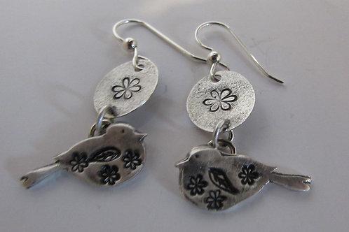 Hand fabricated sterling silver bird earrings.