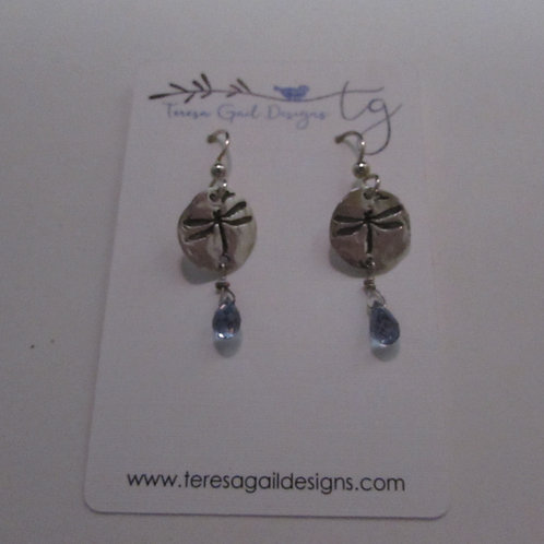 Handcrafted sterling silver earrings with faceted blue quartz.