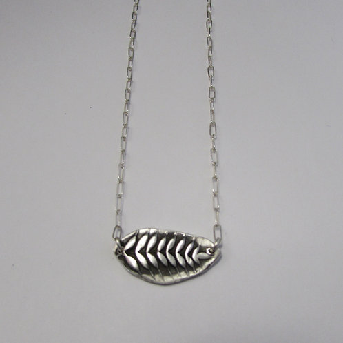 Handcrafted sterling silver fern necklace.