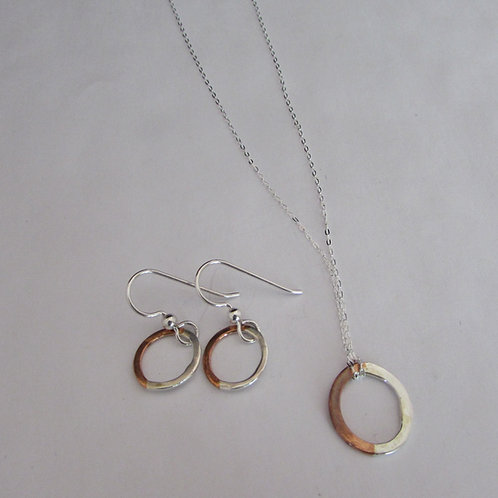 Handcrafted sterling silver and copper earring and necklace set.