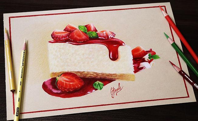 Рисунок цветными карандашами. Торт с клубникой. Бесплатный мастер-класс по рисованию. Автор: Юлия Омельченко