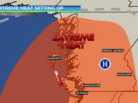 Extreme Heat Setting up over British Columbia