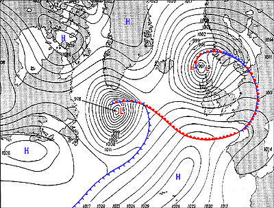 Surface weather analysis map showing weather fronts on 5 June