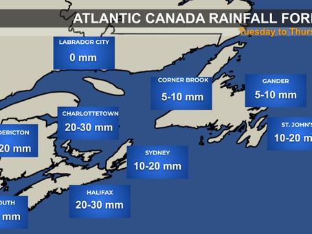 Rain and Wind Heading Toward Atlantic Canada