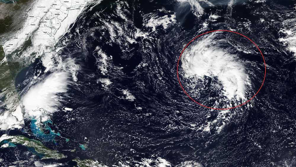 The system, highlighted in red, may become the next named storm of the season. Photo EOSDIS Worldview.