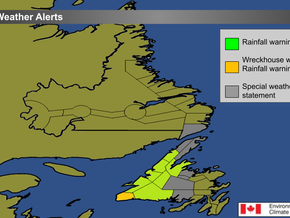 Heavy rain and strong wind expected across western Newfoundland