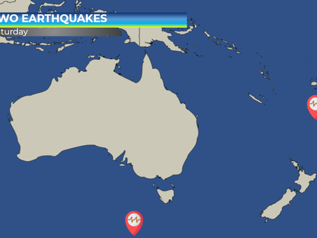 Two large earthquakes in the Pacific Ocean