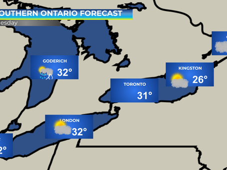 Hot & Humid weather expected across Southern Ontario #ONwx
