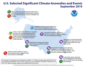 An annotated map of the United States showing notable climate and weather events that occurred across the country during September 2019.