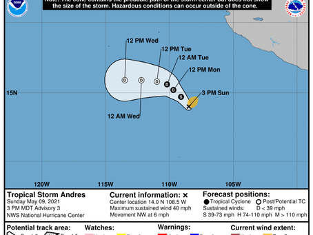 Tropical Storm Andres churning in eastern Pacific