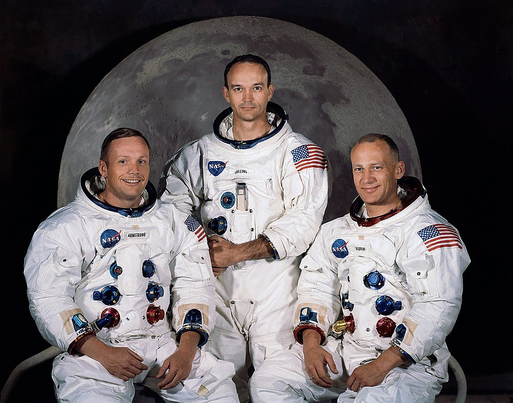 Apollo 11 crew, who made the first crewed landing: Commander Neil Armstrong, Command Module Pilot Michael Collins, and Lunar Module Pilot Buzz Aldrin