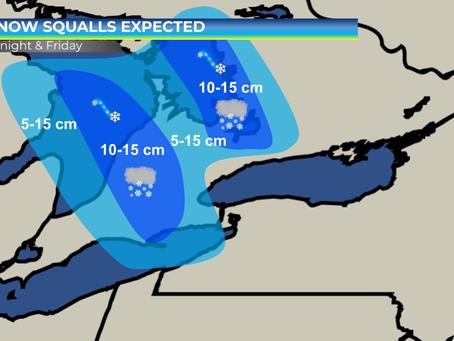 Snow Squalls Expected Along Lake Huron and Georgian Bay