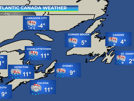 Heavy rain and strong winds headed to Atlantic Canada