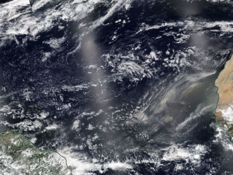 Saharan dust emerges off the coast of Africa keeping tropics quiet