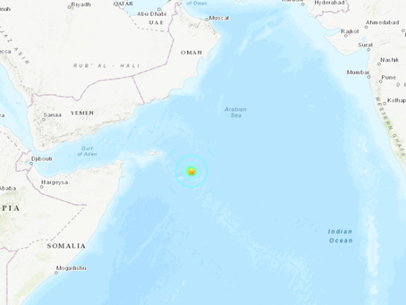 6.2 Magnitude Earthquake in Arabian Sea