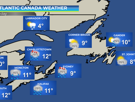 Rainy Friday in store for the Maritimes