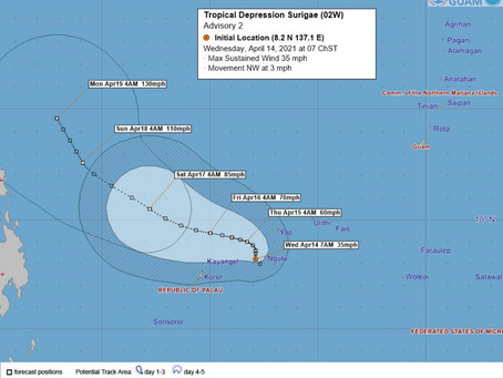 Tropical Depression Surigae prompts tropical storm warnings