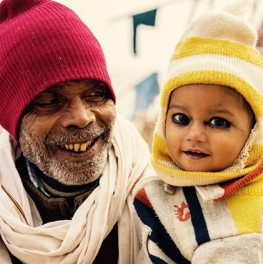Grandfather and child at Ganges, Varanasi