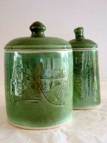 White stoneware green jars