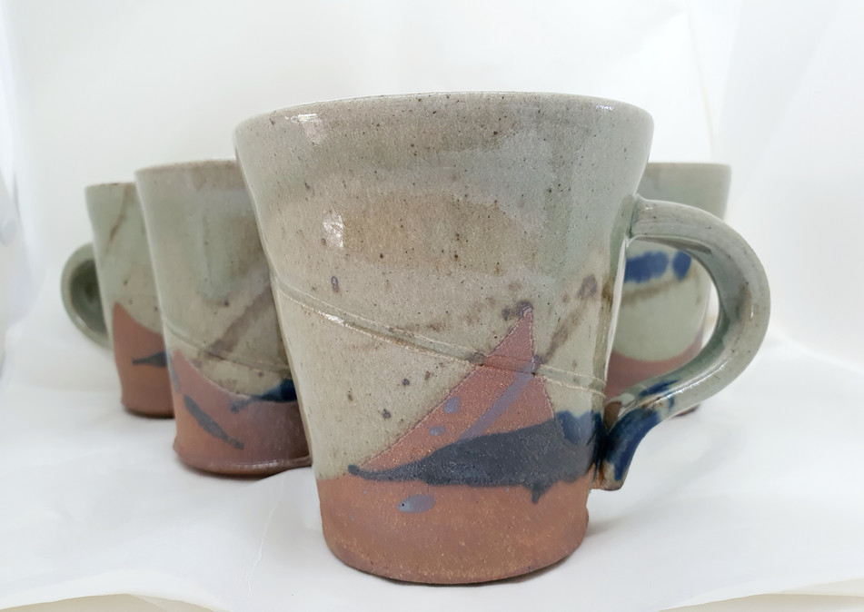 Cream with blue splash mugs