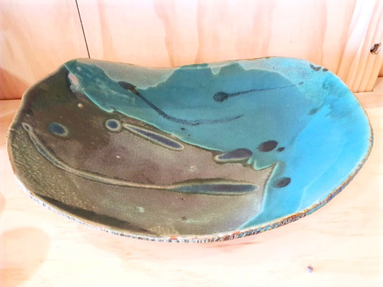 Green and acqua serving plate