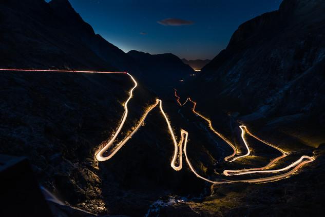 Trollstigen by night