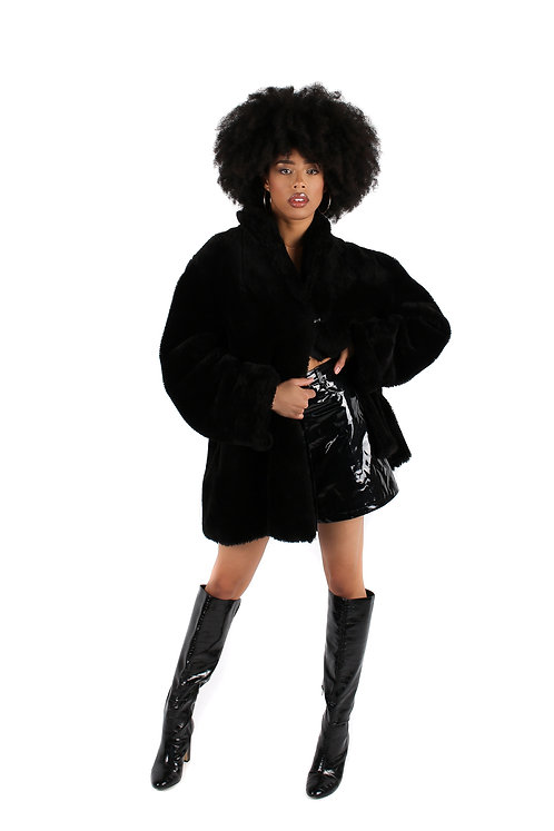 'Feline' Faux Fur Coat