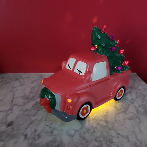 """Ceramic 9"""" truck and lighted tree- paint  at your own  home"""