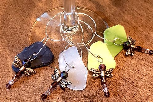 Handmade sea glass and beaded dragonfly wine glass charms