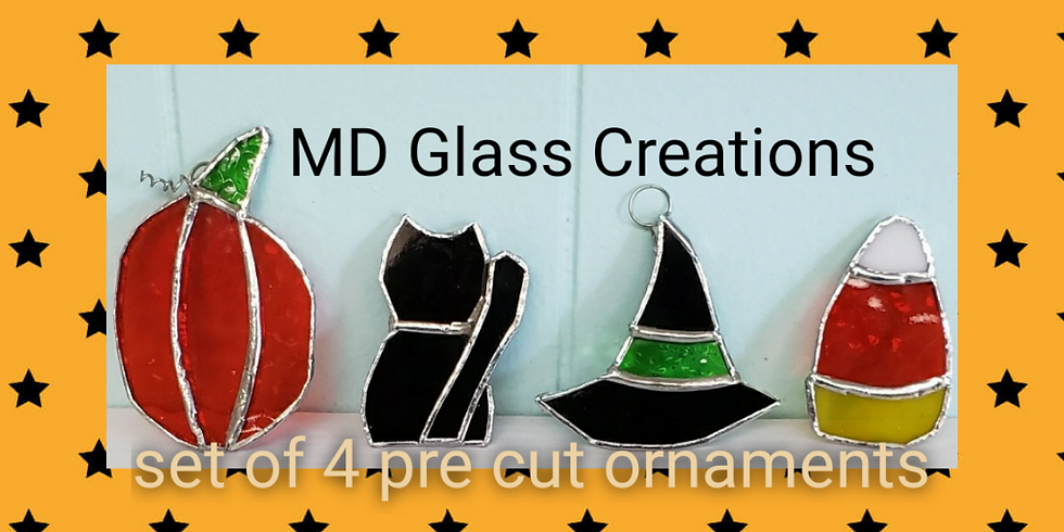 4 Stained Glass Ornaments Halloween