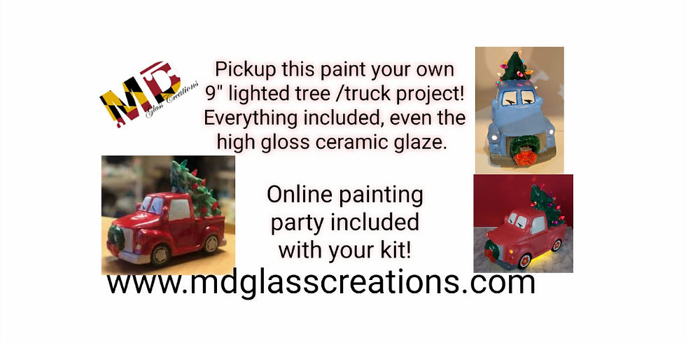 Online paint your own ~Pickup Truck With Lighted Tree ~ FREE SHIPPING!