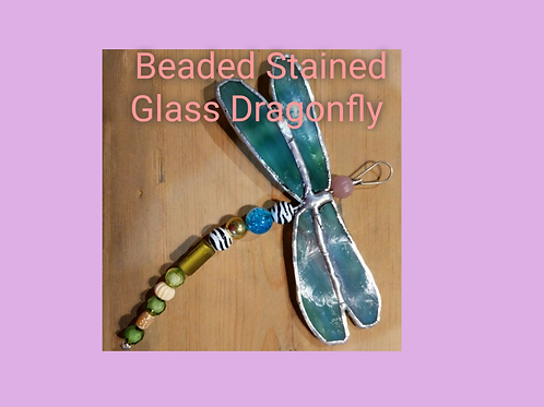 Beaded stained glass dragonfly