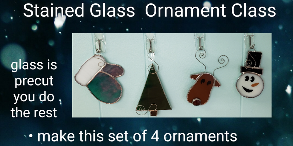 Severna Park - Stained Glass Workshop Set of 4 Christmas Ornaments