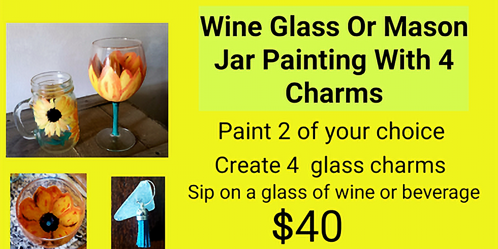 Painted Wine Glass OR Mason Jars - Britain Hill