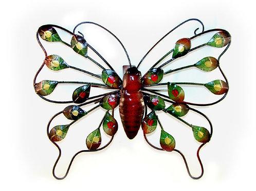 Настенный металлический декор «Бабочка с листочками»
