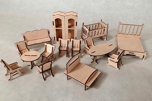 Набор конструктор деревянной мебели для маленьких кукол