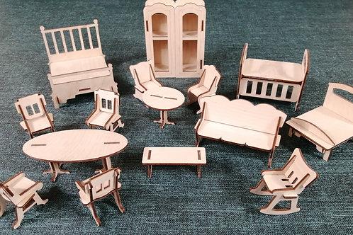 Набор мебели для кукол до 10 см
