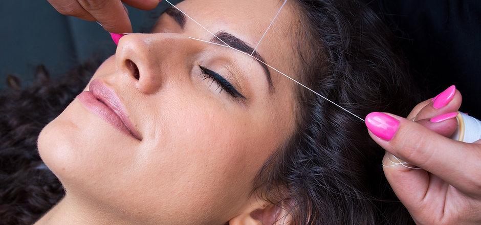attractive woman in beauty salon on faci