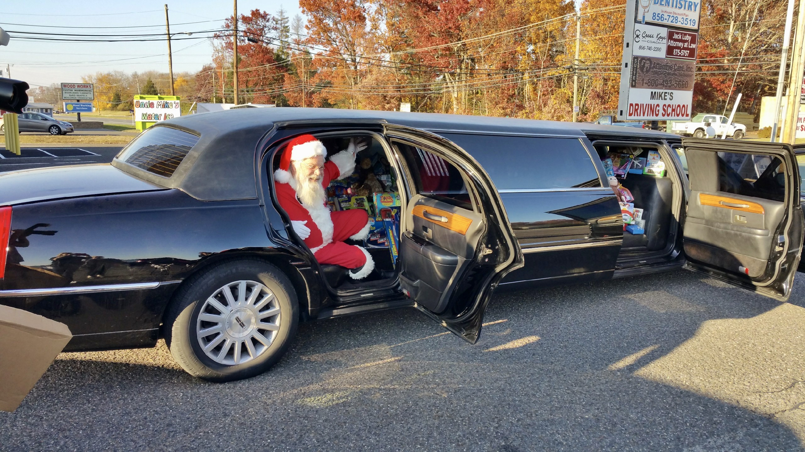 Santa getting out of limo