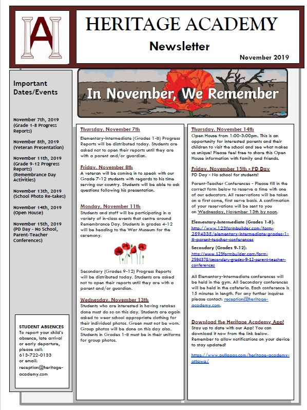 The October 2019 Newsletter has been sent out to all Heritage Academy families. If you did not receive one please contact Ms. Megan: reception@heritage-academy.com