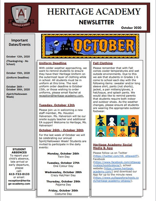 October 2020 Newsletter