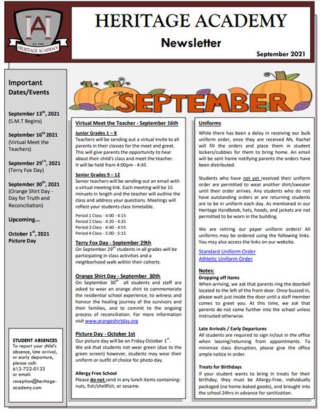 September 2021 Newsletter - Welcome Back!
