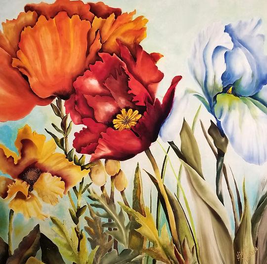 GWinters - Wildflowers 24x24 Dye on Silk