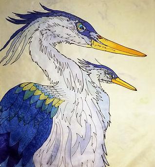 GWinters - Two Herons 22x22 Dye on Silk.